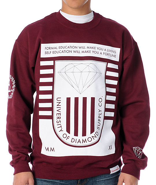 Diamond Supply Co University 2 Maroon Crew Neck Sweatshirt  2506c0820580
