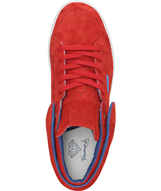 Diamond Supply Co VVS Red & Blue Suede Skate Shoes