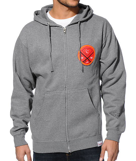 Diamond Supply Co Victory Swords Grey Zip Up Hoodie