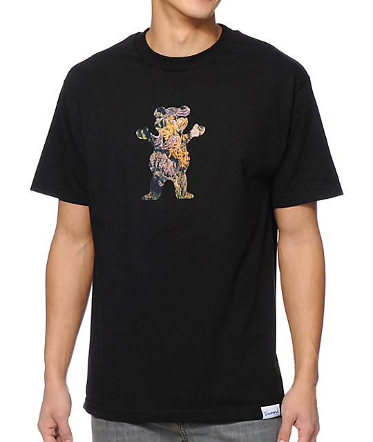 Diamond Supply Co x Grizzly Grip Tape Purple Kush Bear Grey T-Shirt