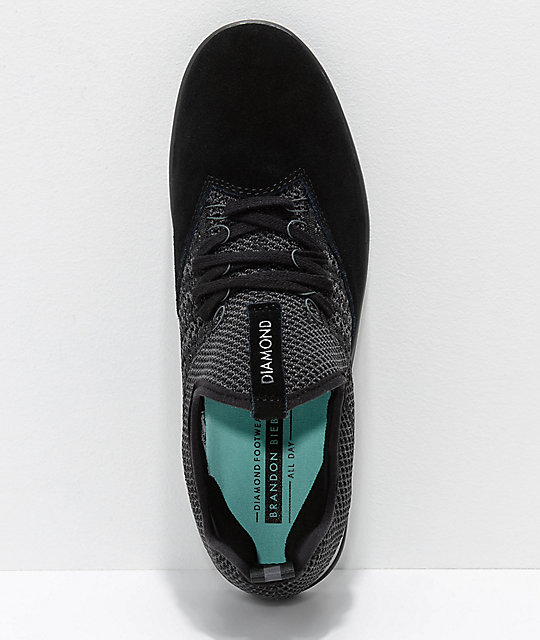 Diamond Supply Co. All Day Black Knit & Suede Skate Shoes