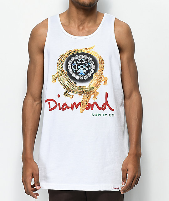 Diamond Supply Co. Alligator White Tank Top