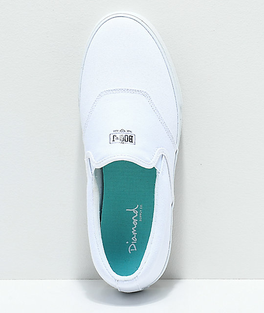 Diamond Supply Co. Boo-J White Canvas Slip-On Skate Shoes