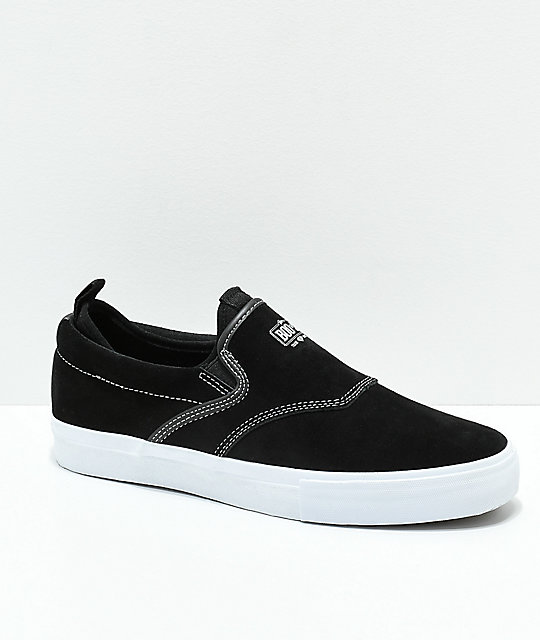 Diamond Supply Co. Boo-J XL Black & White Suede Slip-On Skate Shoes
