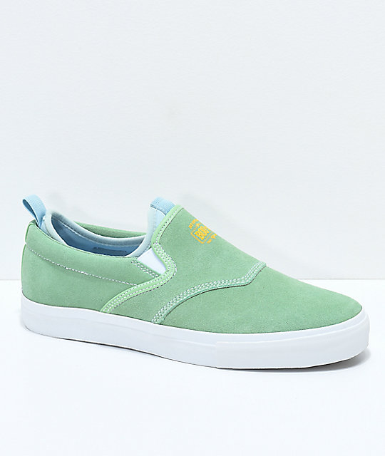 Diamond Supply Co. Boo-J XL Green & White Slip-On Skate Shoes