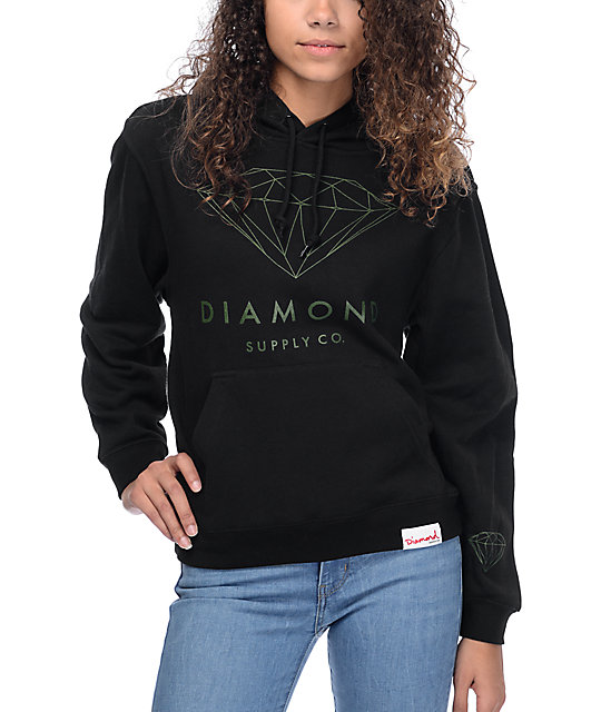 82c2e5a85 Diamond Supply Co. Brilliant Black & Green Hoodie | Zumiez
