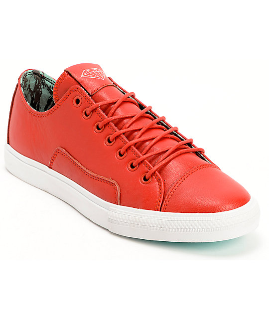 Diamond Supply Co. Brilliant Low Red & Mint Lamb Skin Skate Shoes