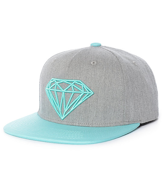 9b88b2b432c53 ... closeout diamond supply co. brilliant youth grey mint snapback hat  3752e 23f3e