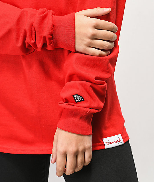 Diamond Supply Co. Cash For Diamonds Red Long Sleeve T-Shirt
