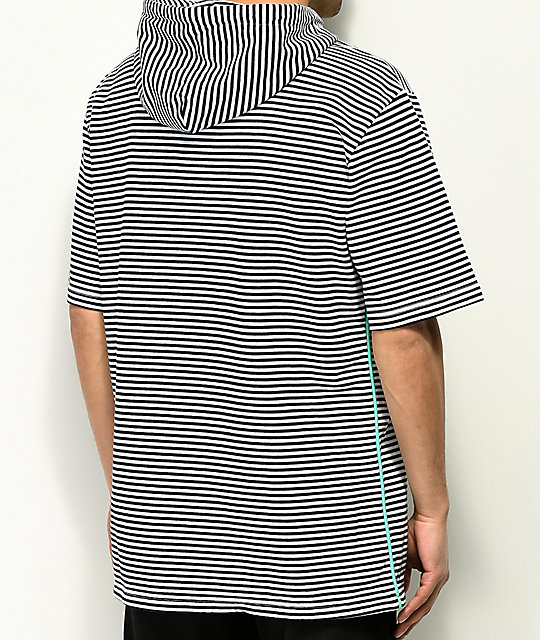 Diamond Supply Co. Cast Away Short Sleeve White & Navy Striped Hoodie