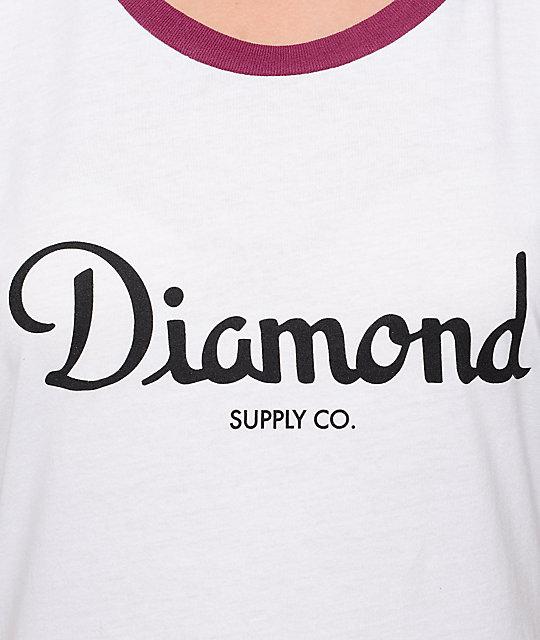 27b4dc36 Champagne Script Burgundy Ringer T-Shirt; Diamond Supply Co. Champagne  Script Burgundy Ringer T-Shirt ...