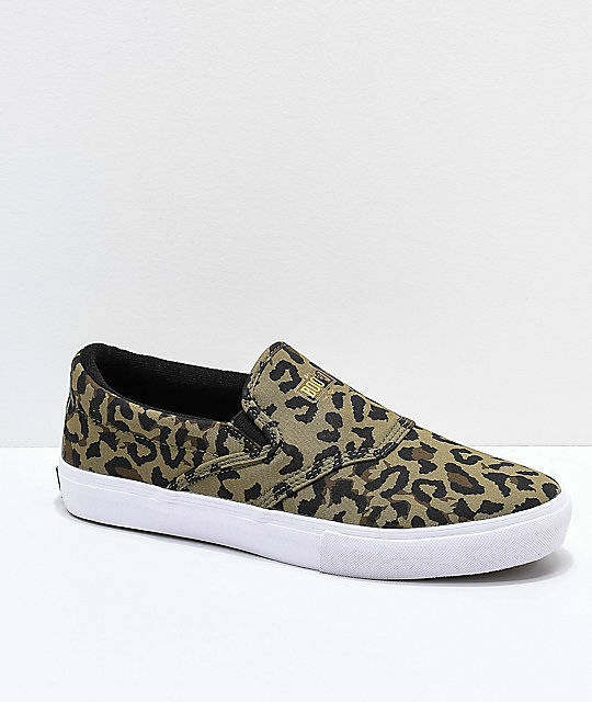 Diamond Supply Co. Cheetah & White Slip-on Skate Shoes