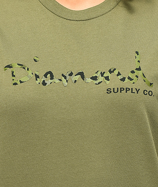 Diamond Supply Co. Cheetah OG Script Olive T-Shirt