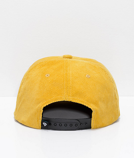 Diamond Supply Co. City Script Gold Corduroy Snapback Hat
