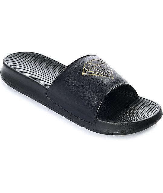 dee090ef0ea Diamond Supply Co. Diamond Fairfax Black   Gold Slide Sandals