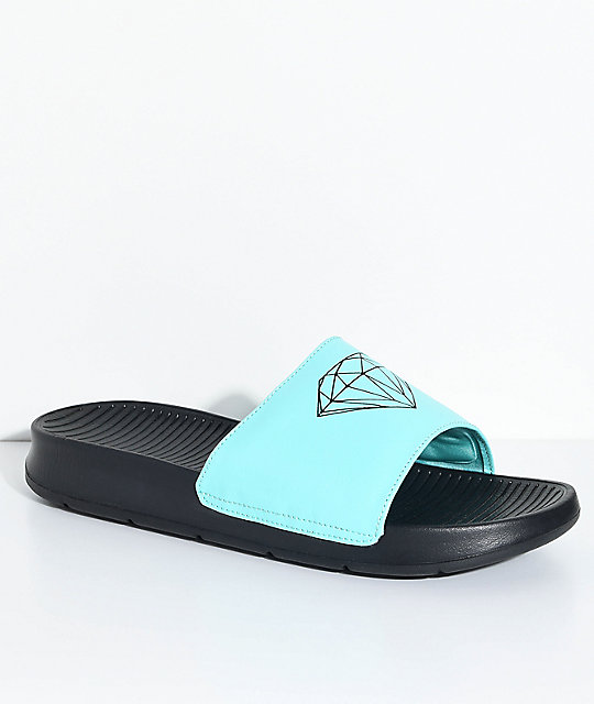 Diamond Supply Co. Fairfax Black & Diamond Blue Slide Sandals ...
