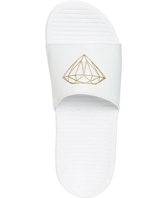 83dc9c10e298 Fairfax White   Gold Slides  Diamond Supply Co. Fairfax White   Gold Slides  ...