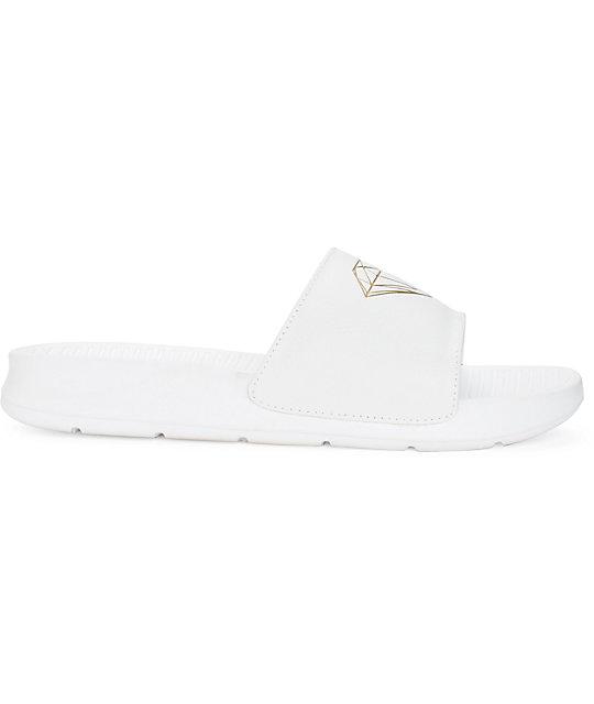 e12dcf1bb9ca Fairfax White   Gold Slides  Diamond Supply Co. Fairfax White   Gold Slides