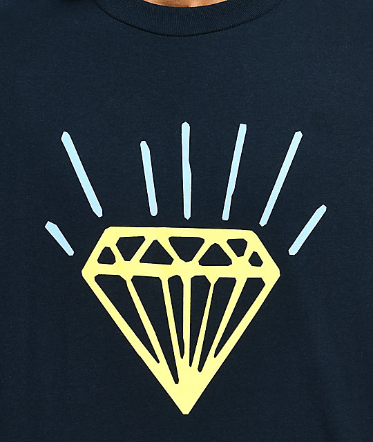 Diamond Supply Co. Gem Navy & Yellow Long Sleeve T-Shirt