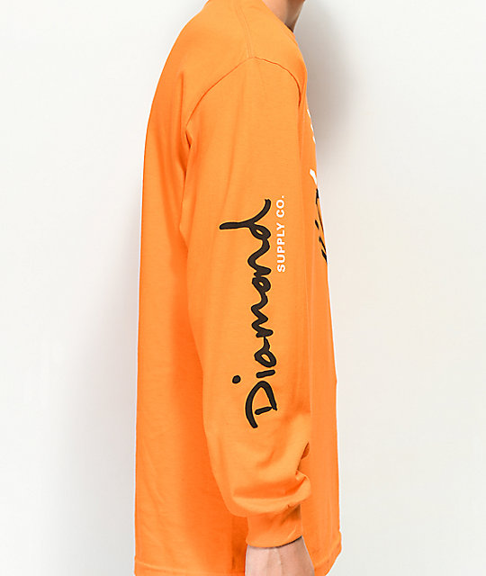 Diamond Supply Co. Gem camiseta naranja de manga larga