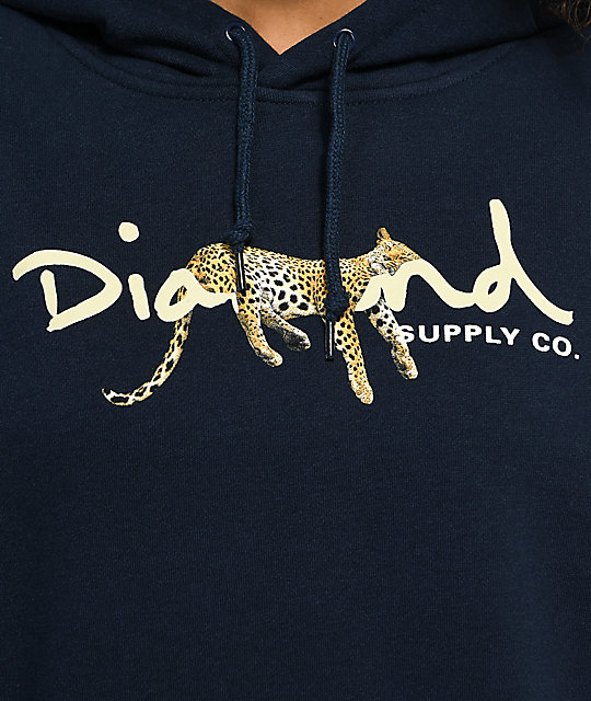 Diamond Supply Co. Leopard OG sudadera con capucha en azul marino