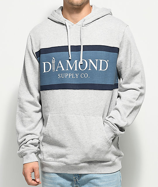 Diamond Supply Co. Mayfair Grey & Blue Hoodie ...