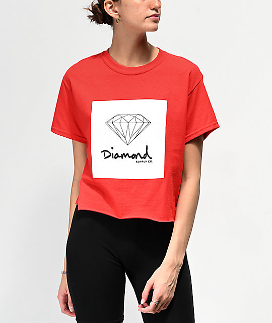 Diamond Supply Co. Mini OG Sign Red Crop T-Shirt
