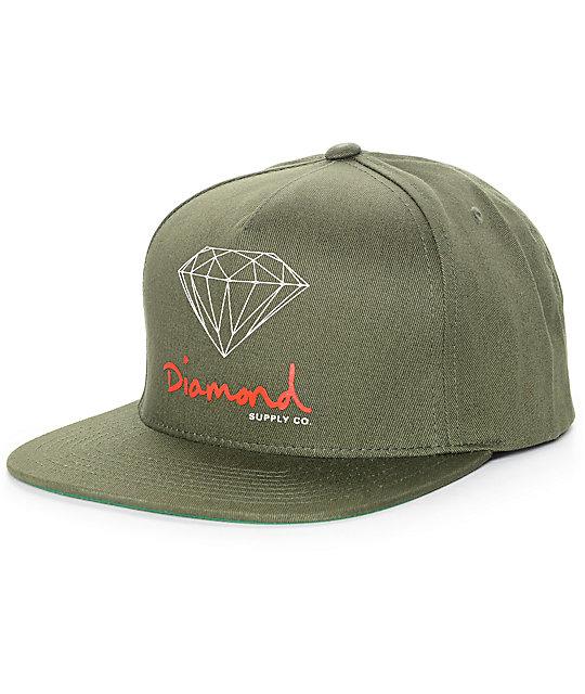 Diamond Supply Co. OG Logo Olive Snapback Hat  513100a9f72