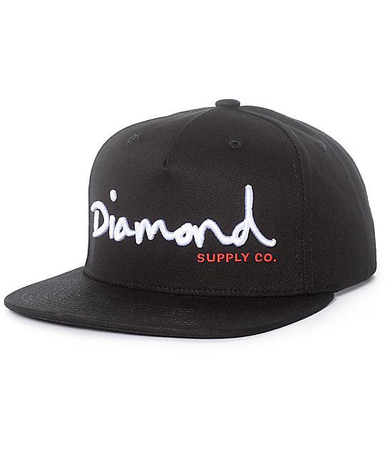 cabb215884964f ... france diamond supply co. og script black snapback hat fd53a 3dd6a