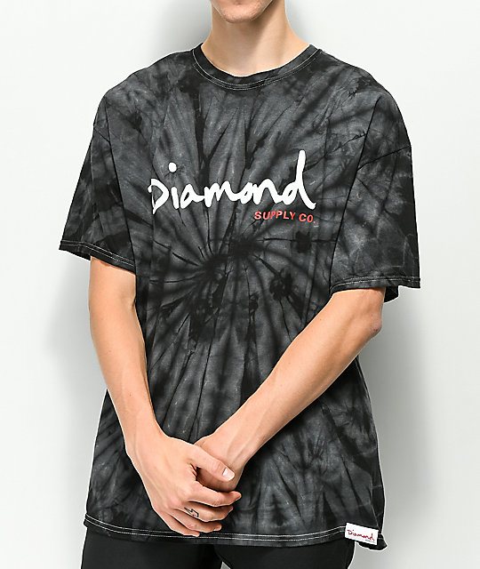 Diamond Supply Co Og Script Black Tie Dye T Shirt Zumiez
