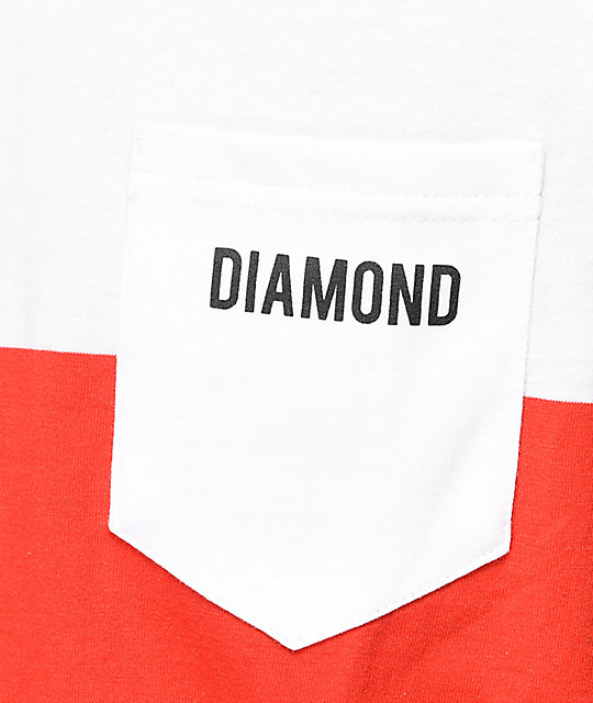 Diamond Supply Co. Origin camiseta a rayas en blanco y rojo