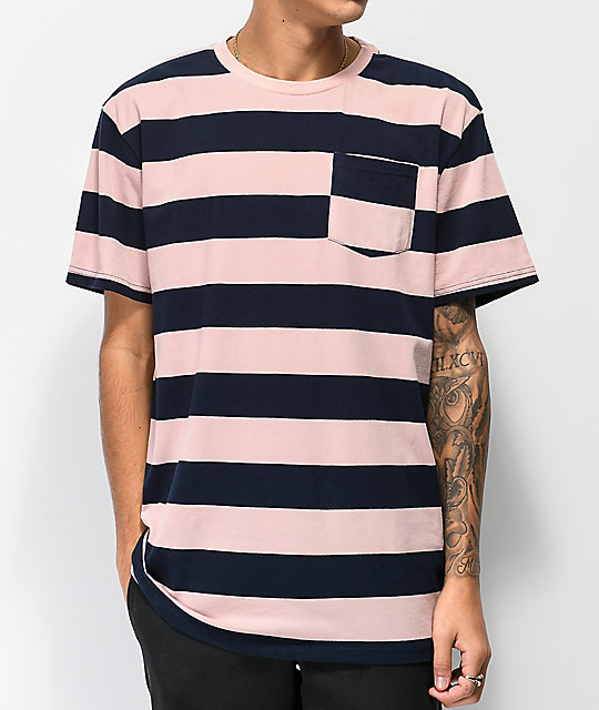 Diamond Supply Co. Pink & Navy Striped Pocket T-Shirt