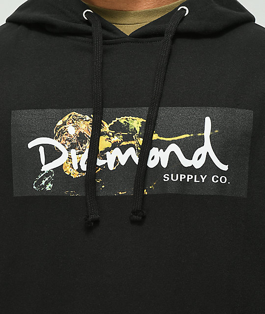 Diamond Supply Co. Rose Gold Box Logo Black Hoodie