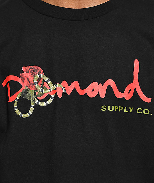 Diamond Supply Co. Rose Snake OG Script Black T-Shirt