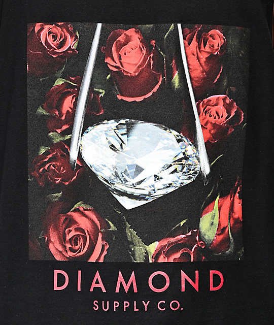 Diamond Supply Co. Roses camiseta negra sin mangas