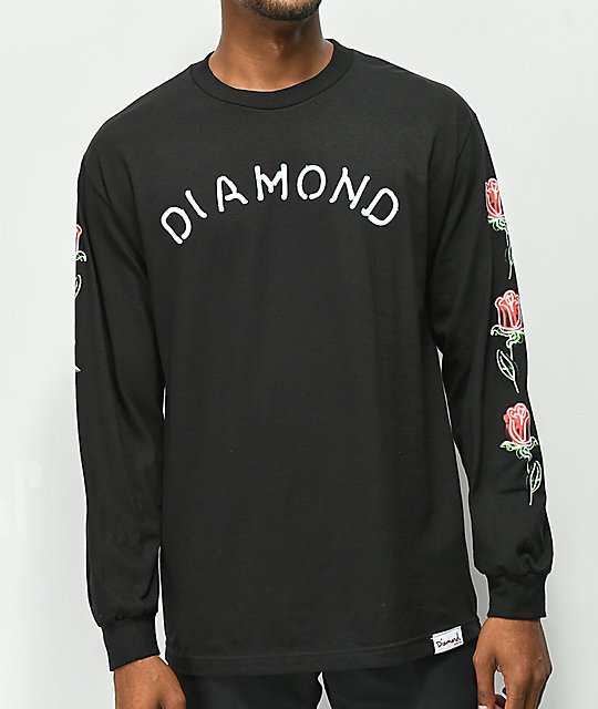 Diamond Supply Co. Rosette Black Long Sleeve T-Shirt