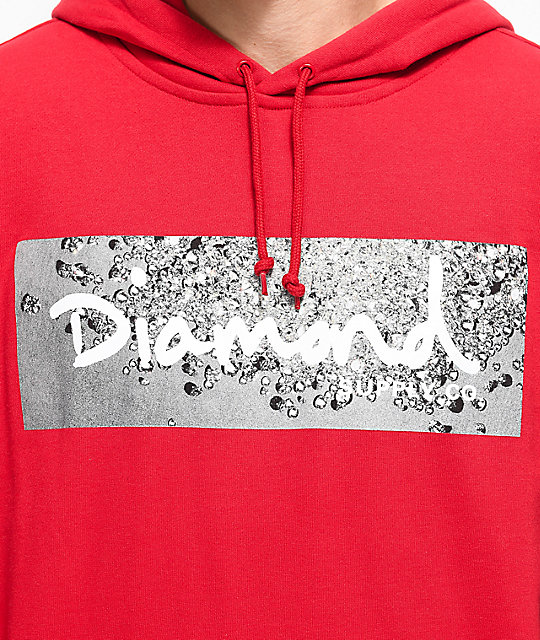 Diamond Supply Co. Scatter Red Logo Black Hoodie