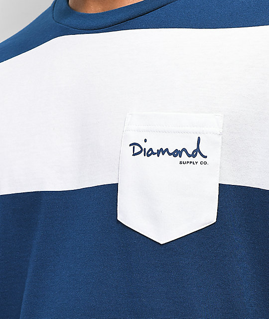 Diamond Supply Co. Script Stripe Pocket White & Navy T-Shirt