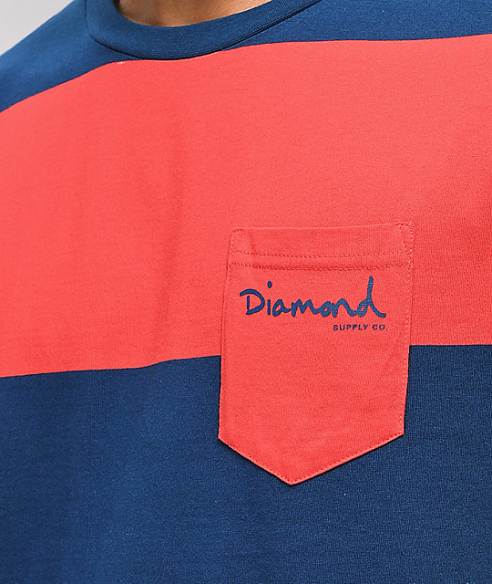 Diamond Supply Co. Script camiseta de rayas azules y rojas