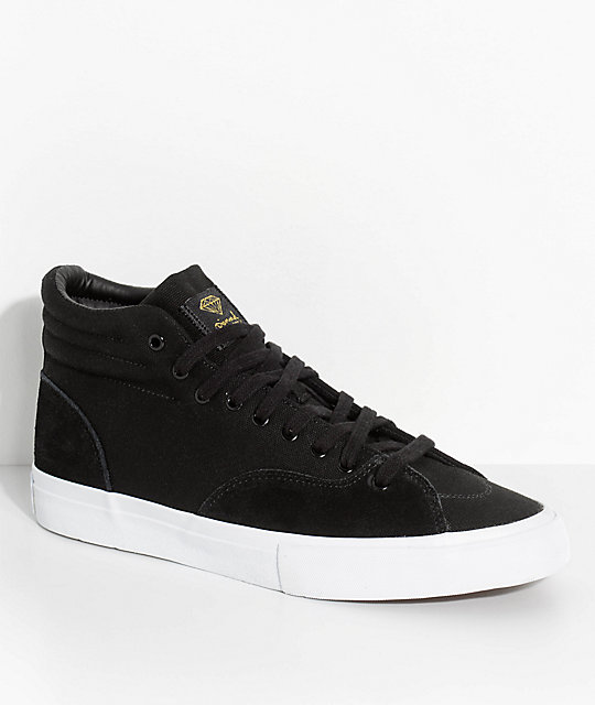 Diamond Supply Co. Select Hi Black, White, Suede & Canvas Skate Shoes