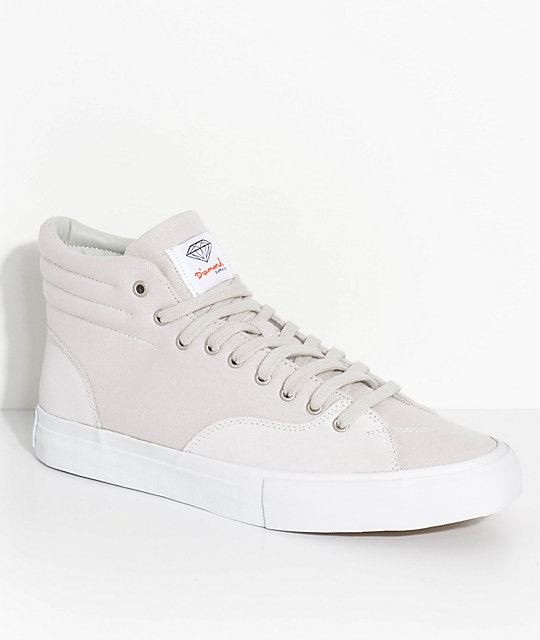 Diamond Supply Co. Select Hi Off-White Suede & Canvas Skate Shoes
