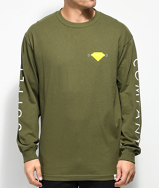 Diamond Supply Co. Solid Olive, White & Yellow Long Sleeve T-Shirt