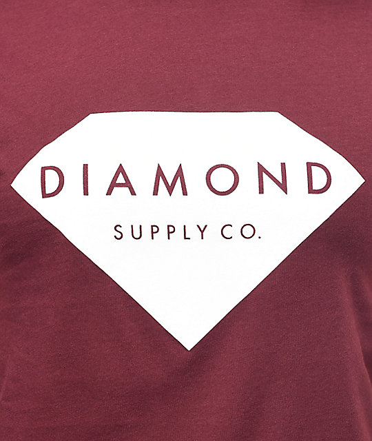 Diamond Supply Co. Solid Stone Burgundy Boyfriend T-Shirt