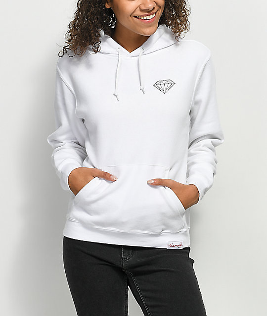 Diamond Supply Co. Strike sudadera blanca con capucha