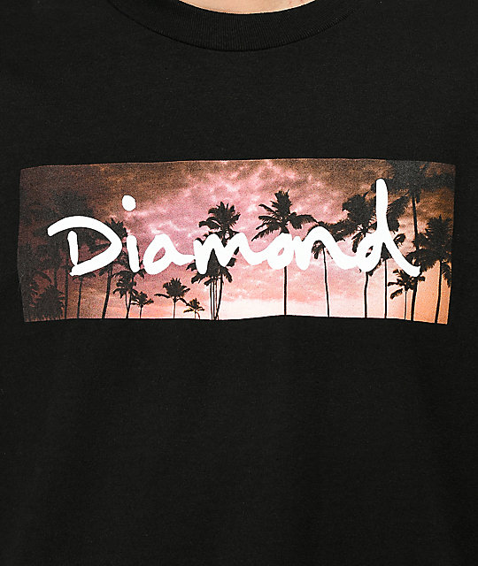 Diamond Supply Co. Sunset Palms camiseta negra