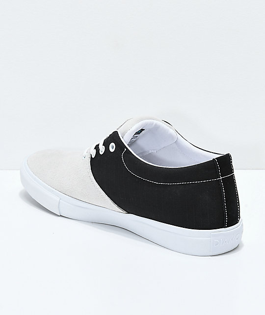 bd6607985c ... Diamond Supply Co. Torey White Suede   Black Canvas Skate Shoes ...