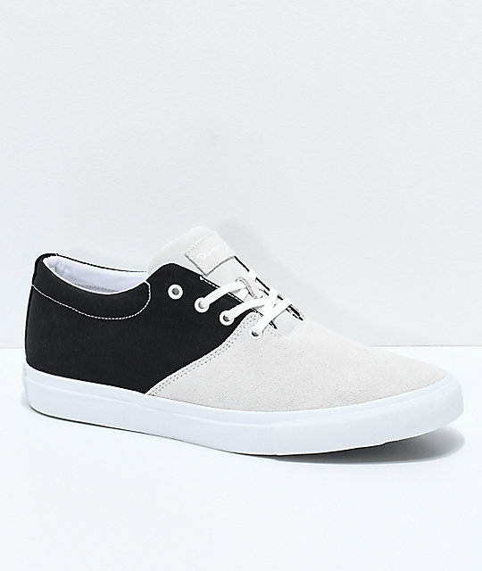 f6021743a6 Diamond Supply Co. Torey White Suede   Black Canvas Skate Shoes
