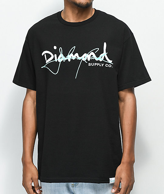 Diamond Supply Co. X Johnny Cash Script camiseta negra