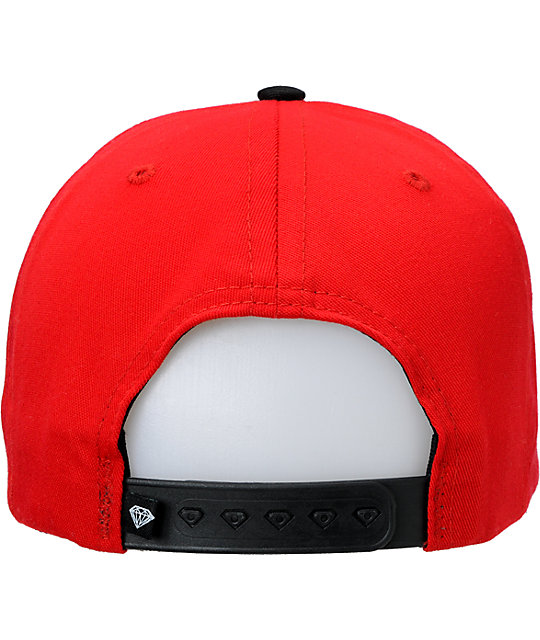 Diamond Supply Coda Red & Black Snapback Hat