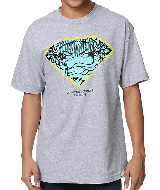 Diamond Supply x Crooks And Castles Grey T-Shirt